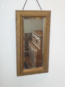 Antique Gilt Rectangular Bevelled Edge Mirror 50 x 27cm