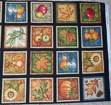 Shades of Autumn Squares panel Fabric Cotton Dan Morris RJR leaf Apple