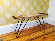 Rustic Oak console side table with metal hairpin legs Mid century style UK Made