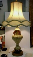 "Vintage Porcelain Table Lamp with Applied Roses and Metal Base - big 34"" tall"