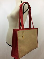 Yves Saint Laurent Ysl Parfum Woven Straw & Red Trim Tote bag with cosmetic bag