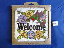 "Ceramic Art Tile 6""x6"" Welcome Sign Hummingbird Flowers Wall Hanging Trivet A86"