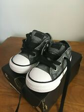 Boys Converse Black White Sneakers Tennis Shoes Toddler Size 5 NIB