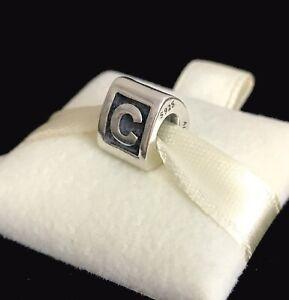 Pandora Letter C Block Alphabet Initial Charm Silver S925 ALE + Box 790323C