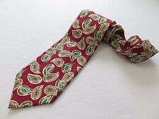 Fendi Roma Cravatte FF Pure Silk Red Beige Paisley Necktie Hand Made in Italy