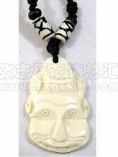 Tibetan Yak Bone Sprial Weaving Beaded Carved Hindu Hanuman Monkey God Necklace
