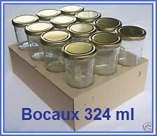12 POTS BOCAUX CONFITURE 324 ml AVEC COUVERCLE DORE