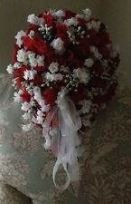 Red&White Cascading or Round Silk Bridal Bouquet & Groom Bout. Or Your Colors!