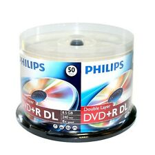 50 PHILIPS DVD+R DL Dual Double Layer 8.5GB 8X Disc