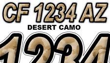 DESERT CAMO Custom Boat Registration Numbers Decals Vinyl Lettering Stickers