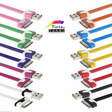 CABLE DE DATOS CARGADOR PLANO PARA IPHONE 4 / 4S /3G IPAD IPOD USB COLORES