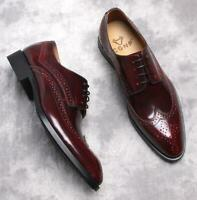 Brogue Mens Real Leather Dress Formal Shoes Wedding Carved Business Pointy Toe