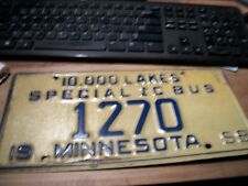 1958 MINNESOTA 10000 LAKES SPECIAL IC BUS  LICENSE PLATE TAG 1270 CITY BUS