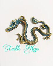 Large Dragon Pendant Antiqued Gold Mythical Pendants Charms Fairy Tale Verdigris