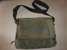 Property Of Work Bag Briefcase Messenger Oiled Canvas & Leather Beige Brown