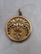 Bow Repousse Paste Gold Filled Locket Vtg Victorian Art Nouveau Bouquet Tied w/