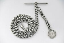 ANTIQUE GRADUATED ALBERT POCKET WATCH CHAIN + 1911 SILVER COIN FOB .
