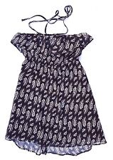 EX CON Quirky Circus Size 12 Dress Strapless Halter Black Feather Print Boho