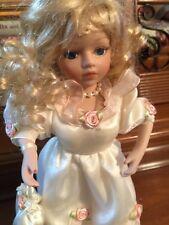 "Porcelain 10"" Blonde Hair Curls Blue Eyes W/Applied Lashes Painted Fingernails"
