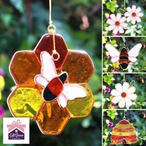 BEE DAISY BEEHIVE HONEYCOMB SUNCATCHER 5 Designs Home Window Garden Décor Resin