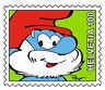 44999 - (50 made) Papa Smurf Postage Stamp Pathtag Mini Shape (geocoin alt) swag