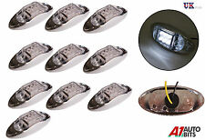 10x 24V LED Side Chrome Bezel Marker White Clear Lights TRUCK LORRY TRAILER BUS