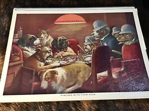 """Vintage CM Coolidge Poker Dogs Print ~ Textured ~ """"Pinched With Four Aces"""""""