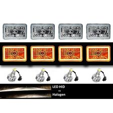 "4X6"" Amber COB Halo Glass/Metal Headlight 6K LED H4 Light Bulb Headlamp Set"