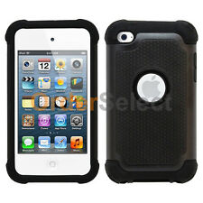 NEW Hybrid Rugged Rubber Hard Case for Apple iPod Touch 4 4th Gen Black 200+SOLD