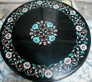 24 Inches Black Marble Center Table Top Gemstones Inlay work Coffee Table Top