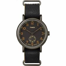 "Timex TW2P86700, ""Weekender"" Black Leather Strap Watch, Subdial"