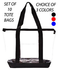 10 Clear Tote Bag Plastic Transparent Purse Handbag Zipper Security Even Stadium