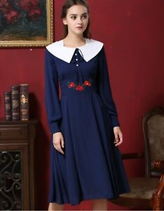 Big Kid Girl's Deluxe Long Sleeve Chiffon Embroidered Below Knee Party Dress