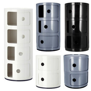 Round Storage Cabinet ABS 2 3 4 Tier Rack Bathroom Bedroom Living Room Cupboard
