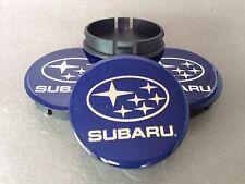SUBARU 4pcs Plastic Wheel Centre Caps with Silicone Emblem 60mm/55mm NEW