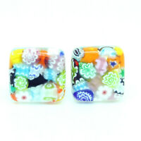 Multi Coloured Millefiori Murano Square Handmade Cufflinks from Venice