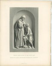 ANTIQUE JESUS CHRIST OUR SAVIOUR MIRACLE GIVING SIGHT TO BLIND MAN OLD ART PRINT