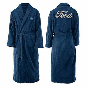 Ford Logo Mens Navy Blue Fleece Dressing Gown Bath Robe One Size New