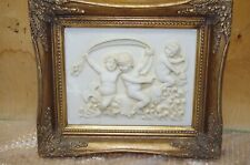 Large Image Angel Relief 37 CM Gold Frame Putto Stuck Baroque