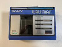 🇨🇦 Vintage Blue SONY Walkman WM-33 Stereo Cassette Player - 3 band EQ - RARE