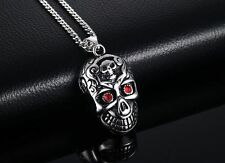Mens Stainless Steel CZ Crystal Skull Pendant Cuban Link Chain Necklace +Box N93