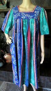 "Vermont Country Store MuuMuu/Patio Dress~M~ Blues/Greens Stripe~SHORT 44"" Long"