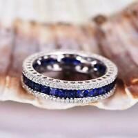 2ct Sapphire and Diamond White Gold Over Full Eternity Wedding Band Ring