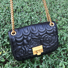 b11738d0d985 NEW Michael Kors Vivianne Quilted Leather MD Shoulder Flap Bag Black/Ballet