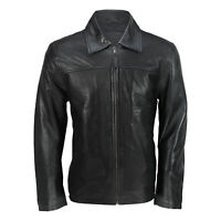 Mens New Black Soft Genuine Real Leather Collar Smart Casual Harrington Jacket