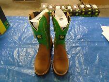 NEW DEALERS JOHN DEERE JD3286 LADIES SIZE 6 M TAN/GREEN  PULL-ON BOOT