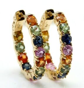 6.01 Carat Natural Ceylon Multi-Color Sapphire in 14K Solid Yellow Gold Earrings