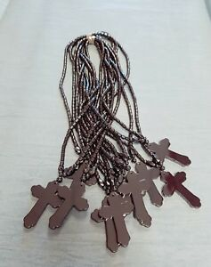 "18"" Hematite Cross Pendant Necklace solid stocking filler buy 4 get 2free"