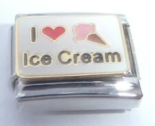 I LOVE ICE CREAM Italian Charm Red Heart Cone 9mm fits Classic Starter Bracelets