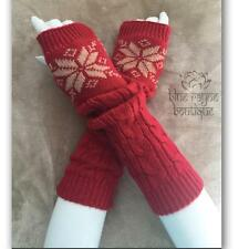 Red Snowflake Houndstooth Cable Knit Arm Warmers Fingerless Sweater Gloves
